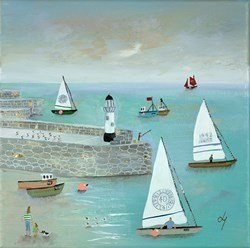 Lighthouse 'n' Sails by Lucy Young -  sized 12x12 inches. Available from Whitewall Galleries